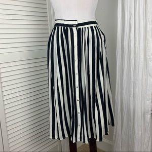 F21 Striped Button Down Midi Skirt